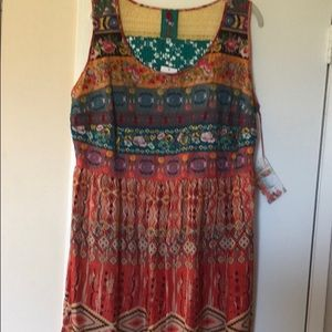 Johnny Was silk and embroidered tank dress 1x